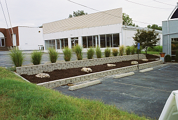 Becomes a beutiful space with bi level retaining walls, natural stone & ornamental grasses.